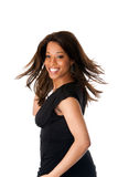 Mujer de negocios africana con el pelo que remolina Imagen de archivo libre de regalías