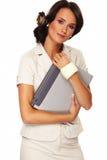 Mujer de negocios agradable en el fondo blanco Imagenes de archivo