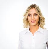 Mujer de negocios, aislada en el fondo blanco Fotos de archivo