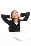 Mujer de negocios alegre que mira para arriba Foto de archivo libre de regalías
