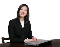 Mujer de negocios asiática sonriente Imágenes de archivo libres de regalías