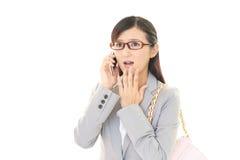 Mujer de negocios asiática sorprendida Foto de archivo libre de regalías