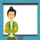 Mujer de negocios asiática con la presentación de la reunión de reflexión de la conferencia del entrenamiento de Flip Chart Copy  Imagen de archivo