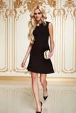 Mujer de negocios atractiva de la belleza en cuerpo delgado perfecto del vestido de la moda Imagenes de archivo