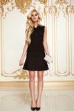 Mujer de negocios atractiva de la belleza en cuerpo delgado perfecto del vestido de la moda Fotos de archivo