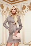 Mujer de negocios atractiva de la belleza en cuerpo delgado perfecto del vestido de la moda Imágenes de archivo libres de regalías
