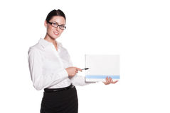 Mujer de negocios atractiva en vidrios Imagen de archivo
