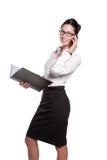 Mujer de negocios atractiva en vidrios Fotos de archivo