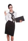 Mujer de negocios atractiva en vidrios Imagenes de archivo