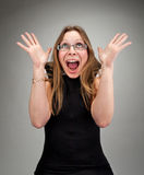Mujer de negocios atractiva sorprendida Fotos de archivo