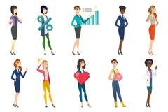 Mujer de negocios, azafata, sistema de la profesión del doctor stock de ilustración