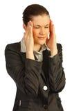 Mujer de negocios bajo tensión. Aislado en blanco Imagenes de archivo
