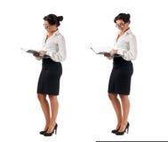 Mujer de negocios cabelluda oscura joven Foto de archivo libre de regalías