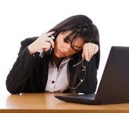 Cansado de llamadas de teléfono Fotografía de archivo libre de regalías
