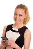 Mujer de negocios caucásica joven hermosa con communi del smartphone Fotos de archivo