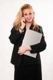 Mujer de negocios caucásica rubia atractiva fotografía de archivo libre de regalías