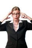 Mujer de negocios con dolor de cabeza Foto de archivo