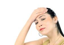 Mujer de negocios con dolor de cabeza Imagenes de archivo