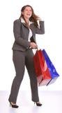 Mujer de negocios con el bolso del regalo. Foto de archivo libre de regalías