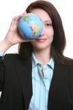Mujer de negocios con el globo imagenes de archivo