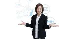 Mujer de negocios con el gráfico de la información del negocio Imágenes de archivo libres de regalías