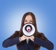Mujer de negocios con el megáfono Fotografía de archivo libre de regalías