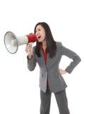 Mujer de negocios con el megáfono Fotos de archivo