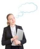 Mujer de negocios con el sueño del ordenador portátil Fotografía de archivo libre de regalías