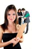 Mujer de negocios con el sujetapapeles Imagen de archivo libre de regalías