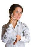 Mujer de negocios con el teléfono celular Imagen de archivo libre de regalías