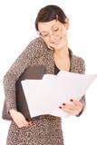 Mujer de negocios con la computadora portátil, Imagen de archivo