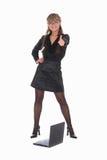 Mujer de negocios con la computadora portátil Fotos de archivo