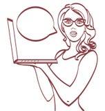 Mujer de negocios con la computadora portátil Estilo del arte pop, EPS 10 en capas Foto de archivo