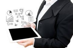 Mujer de negocios con la información del negocio de la escritura de la mano Imágenes de archivo libres de regalías