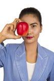 Mujer de negocios con la manzana. imagen de archivo libre de regalías