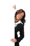 Mujer de negocios con la muestra imagen de archivo libre de regalías