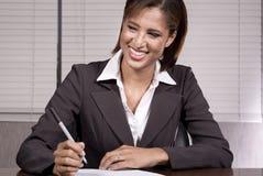Mujer de negocios con la pluma Imágenes de archivo libres de regalías