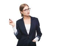 Mujer de negocios con la pluma Foto de archivo libre de regalías