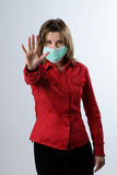 Mujer de negocios con la protección de la máscara Imagenes de archivo