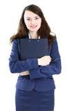 Mujer de negocios con la sonrisa del plan de trabajo Imagen de archivo libre de regalías