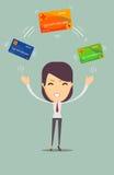 Mujer de negocios con la tarjeta de crédito a pagar libre illustration