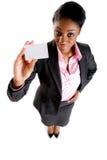 Mujer de negocios con la tarjeta de visita Imágenes de archivo libres de regalías