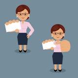 Mujer de negocios con la tarjeta de visita en blanco en la diversa acción Imágenes de archivo libres de regalías