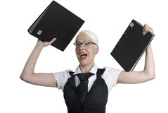 Mujer de negocios con las carpetas en sus manos. Fotografía de archivo