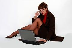 Mujer de negocios con las lentes Foto de archivo libre de regalías
