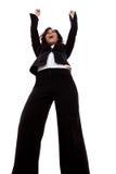 Mujer de negocios con los brazos levantados Imágenes de archivo libres de regalías