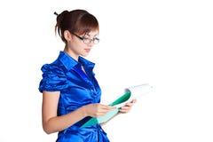 Mujer de negocios con los documentos fotos de archivo