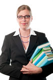 Mujer de negocios con los libros Foto de archivo libre de regalías
