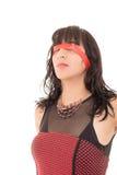 Mujer de negocios con los ojos vendados, aislada en blanco Imagen de archivo libre de regalías
