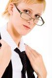 Mujer de negocios con los vidrios foto de archivo